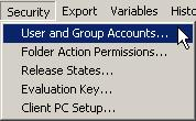 - Меню Security-User and Group Accounts...