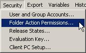 - Меню Security-Folder Action Permissions...