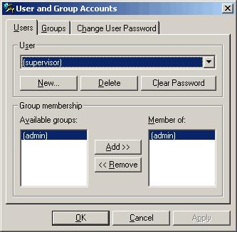 - Окно User and Group Accounts